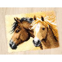 NEW Vervaco PN-0144834 | Large Hole Canvas Horses 2 Rug Latch Hook Kit FREE POST