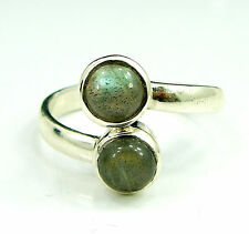 925 Solid Sterling Silver Handmade Labradorite Stone Ring Size 8 US - 1024
