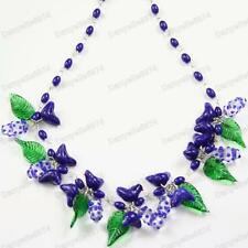 BIRDS&LEAVES indigo DARK BLUE murano GLASS BEAD NECKLACE vintage beads bird&leaf