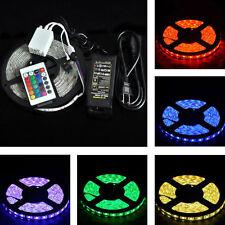 STRISCIA LED RGB 5 Metri 300 LED SMD 5050 MULTICOLORE TELECOMANDO E ALIMENTATORE
