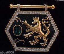 Signed Swan Swarovski Gold Plated Lion Shield Brooch Pin