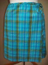 GAS Blue Green Plaid Wrap Casual Career Above Knee Slim Skirt Size M 5 @ cLOSeT