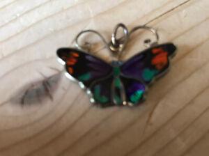 Vtg David Anderson Enamel Butterfly Pendent Gilt Sterling Silver