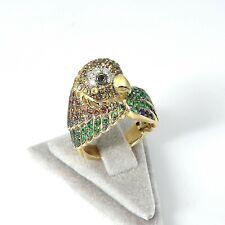 Wert 3610 € Brillant Farbedelstein Ring Papagei (2,58 Ct) 585er 14 K Gold Gr. 55