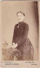 ANTIQUE CDV PHOTO -LADY WEARING NECKLACE . DORKING STUDIO
