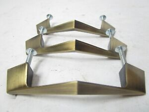 """Lot Of 3 V Style Chevron Angled Vintage Drawer Pulls 3"""" center Brass Painted"""