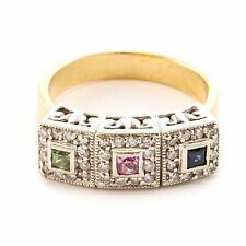 Effy Bita 14k Yellow & White Gold Sapphire Iolite Peridot Diamond 3 Square Ring