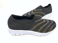 NEW!  Skechers Women's Slip On Walking Shoes Black/Gold/White 155L tz