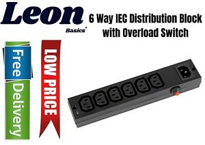 6 Way IEC Distribution Block with Overload Switch -  PEL01259