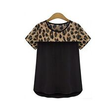 Sexy Women Hot Leopard Print Short Sleeve Chiffon Tops Polyester Blouses 3XL