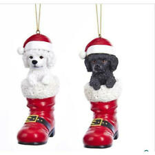 Poodle in Santa Boot Ornament