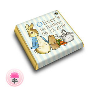PERSONALISED Blue PETER RABBIT (ANY AGE) Birthday Party Bag FAVOUR CHOCOLATES