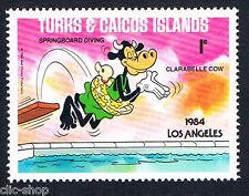 WALT DISNEY UN FRANCOBOLLO DI TURKS & CAICOS ISLANDS LOS ANGELES 1c 1984 nuovo