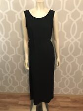 Norton McNaughton Sleeveless Black Maxi Dress Womens Sz M Medium Tie Belt Nwot