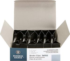 Business Source Fold-Back Binder Clips, Black, Large (36552) Black Color
