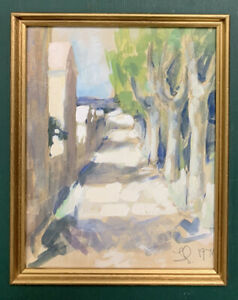 Mid Century Impressionist Scandinavian Gouache Painting In Gold Gilt Frame