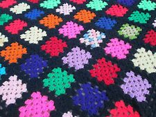 "Vintage 55""x58"" Granny Squares Solid Colors Black Multi Crocheted Afghan Throw"
