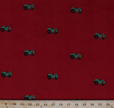 Fine-wale Corduroy Embroidered Green Farm Tractors on Red Fabric Bty D254.08