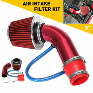 Red Car Cold Air Intake Filter Induction Kit Pipe Power Flow Hose System 76mm