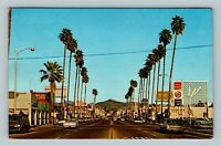 San Diego CA, Chevrolet Dealership, Mobil Gas, Chrome California c1970 Postcard