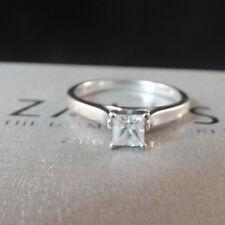 Zales 0.44 ct Princess Diamond 14K White Gold Engagement Ring Size 7.5