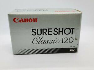 Cannon Sure Shot Classic 120 with wrist strap, manual, & box VTG