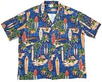 VTG Aloha Republic Hawaiian Camp Shirt Surf Boards Palm Trees Mens Size 3XL EUC