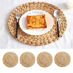 .Weave Rattan Round Natual Straw Placemats Home Cups Mat For Dining Table Mats