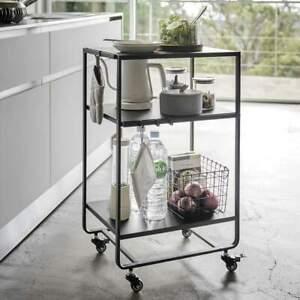 Yamazaki Home Küchenwagen auf Rollen schwarz Metall 3 Ebenen 38x81x49cm