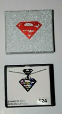 """SUPERMAN STAINLESS STEEL, Ladies (1.00"""") TAG PENDANT, with Chain, New in Box"""