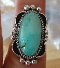 size 8.5 Sterling Silver 8g 30x17mm oval Green Blue Turquoise 4mm wide band Ring