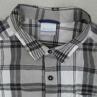 Columbia Button Up Shirt Mens L Gray Black Short Sleeve 100% Cotton Plaid Casual