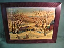 PRIMITIVE PAINT-BY-NUMBERS STYLE PAINTING COVERED BRIDGE OAK FRAME-