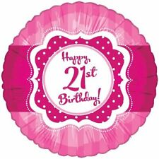 "17"" Pink Happy 21st Birthday Foil Balloon Helium Ladies 21 Party Decoration"