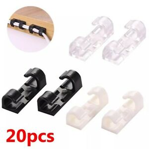 20X Wire Organizer Storage Clips Securing Cable Clamp Buckle Line Finishing UK
