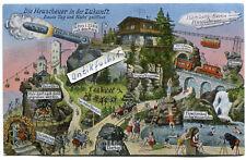 Postkarte um 1905 :  Heuscheuer in der Zukunft in Schlesien