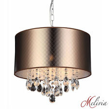 Lampe Suspendue Lustre Bronze Marron Suspension Plafonnier Cristal E14 Or
