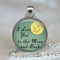 I love you to the moon and back Silver plated Glass Chain Pendant Necklace*