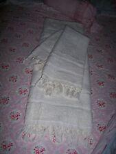Cottage Chic CREAM large Shabby BATH & Hand TOWEL SET with knotted  fringe 2pc