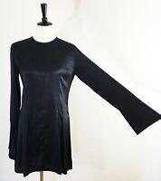 TREASURE BOND Something Navy BLACK Women's S Satin Tunic Shirtdress Minimalist