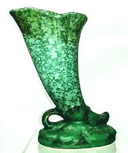 Weller Pottery Sydonia Cornucopia Vase, Mottled Green Glaze, Circa 1930