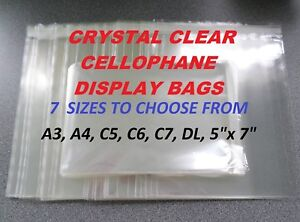 CELLOPHANE DISPLAY BAGS - Clear Self Seal Cello Bags For Cards, Crafts, Prints