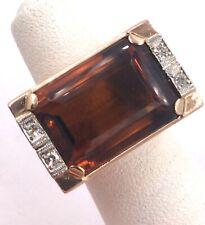 18k Rose Gold 14.71TCW Citrine & Diamond Ring Size 4.25 14gr