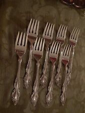 Oneida 1881 Rogers BAROQUE ROSE Silverplate  EIGHT salad forks