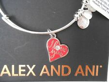 Alex and Ani I Love You Bangle Bracelet Color Infusion Shiny Silver NWT Box Card