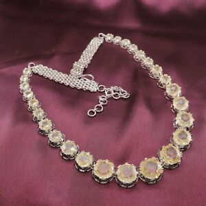 Yellow Cubic Zirconia White Gold Plated Only Necklace 320 MN 2