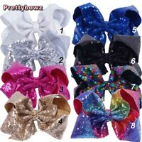 "8"" Large Sequin Hair Bows Kids Girl Bling Rainbow Sequin Bows Clips Hairgrips"