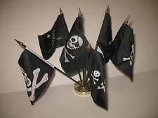"Pirate Pirates Jolly Roger JR Set 6 Flags 4""x6"" Desk Set Table Stick Gold Base"