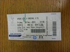 28/03/2014 BIGLIETTO: Tottenham Hotspur U21 V Arsenale U21. grazie per la visualizzazione THI