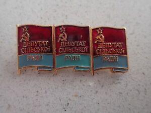 3 x Genuine USSR CCCP Soviet Russian Communist Party Label Pin Badge